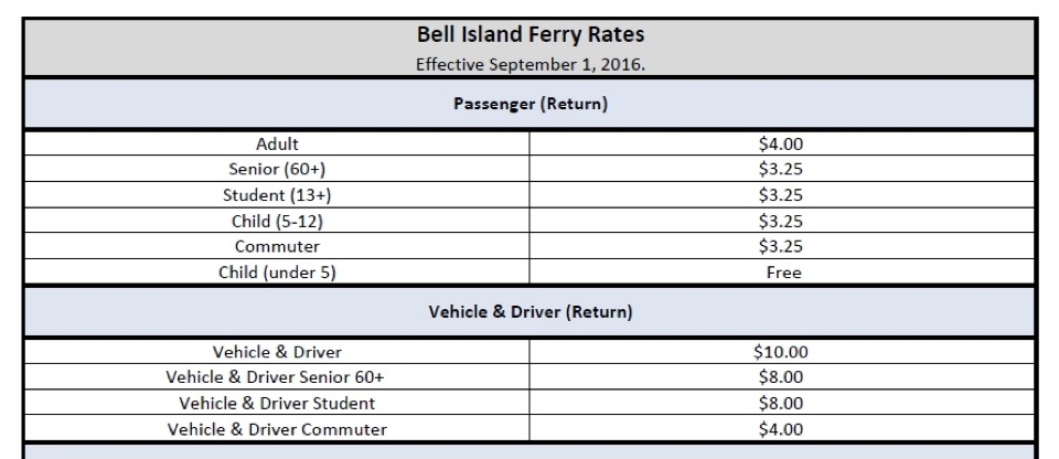 Bell Island Ferry Fee Schedule