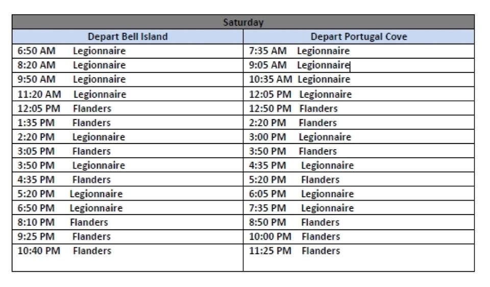Bell Island Ferry Schedule - Saturdays